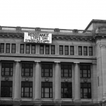 Banner dropped from Old Municipal Court Building